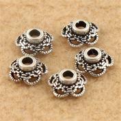 MFMei 9mm Antique Style Hollow Bead Caps, Sterling Silver Flower Caps