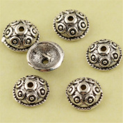 MFMei 7mm Antique Style Round Bead Caps, Sterling Silver Flower Caps