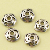 MFMei Antique Style Bead Caps, Sterling Silver Plum Blossom Flower Caps