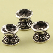 MFMei Antique Style Sterling Silver Bead Caps, Double Sided Flower Caps