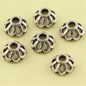 MFMei Antique Style Hollow Sterling Silver Bead Caps, Flower Caps