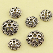 MFMei Antique Style Hollow Round Bead Caps, Sterling Silver Flower Caps (CY020)