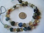 Beads, Genuine Gemstone Multi Hearts 8mm - 11pcs