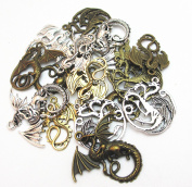 Dandan DIY 16pcs/8pairs Antique Charms Alloy Dragon Pendant Craft Accessory Diy Fire Dragons Necklace Craft Making Supply