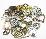 Dandan DIY 100grams (71pcs Approx) Antique Charms Alloy Heart-shaped Pendant Craft Accessory Diy Love Necklace Craft Making Supply