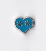 Blue Heart with Paw Prints Floating Charm