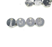 26pc Alphabet Disc Letter Set Charms- Lead Free Nickel- Jewellery Making 10mm