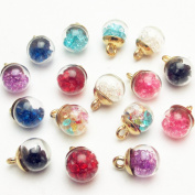 "Dandan DIY 16pcs 12mm(0.48"") Colourful Mix Lots Assorted-Colours Antique Charms Glass Ball with Tiny Shiny Rhinestone Beads Pendant Craft Accessory Diy Necklace Bracelet Craft Jewellery Making Supply"