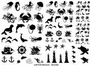 Sea Creatures 0.6cm - 2.9cm - Black 16CC552 Fused Glass Decals