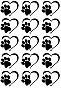 Heart Dog Cat Paw Print Black 17CC795 Fused Glass Decals