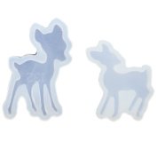 Funshowcase Cute Deer Silicone Mould Trays for Crafting, Resin Epoxy, Jewellery Making, Large and Small 5.1cm Set