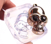 Clear-silicone Flat backs skull pendant mould.Size 49x28mm. Handmade item