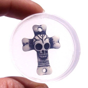 Clear-silicone skull-cross mould.Size 31x23mm. Free USA shipping.