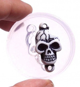 Clear-silicone skull mould.Size 31x17mm. Free USA shipping.