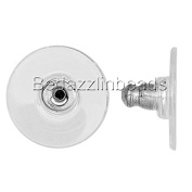 20 Surgical Grade 304 Stainless Steel Stud Comfort Clutch Earring Backs w/ Clear Pad