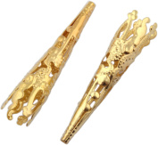 TWO Bolo Tips Gold Tone - 2pcs