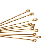 Imagine If... 10 pcs 14k Gold Filled Eye Pins 3.8cm , 21ga 21 gauge Wire Connector / Findings / Yellow Gold 92071