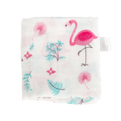 Muslin Baby Swaddle Blankets - Flamingo Print Large 120cm x 120cm - Premium Bamboo Cotton Swaddle Blanket - Perfect Baby Girl Blanket