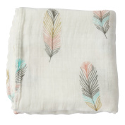 "Swaddle Blankets Muslin - ""Feather Print"" Bamboo Cotton Baby Swaddle Wrap, Burping Cloth & Stroller Cover - Gender Neutral Baby Girl or Baby Boy Blanket By LifeTree"