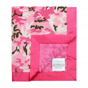 My Blankee Camouflage with Luxe Snail Back & Flat Satin Border Stroller Blanket, Hot Pink, 80cm x 90cm