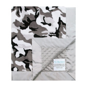 My Blankee Winter Camouflage with Minky Dot Back & Flat Satin Border Stroller Blanket, Silver, 80cm x 90cm