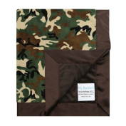 My Blankee Green Camouflage with Minky Solid Back & Flat Satin Border Stroller Blanket, Brown, 80cm x 90cm