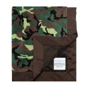 My Blankee Army Camouflage with Minky Solid Back & Flat Satin Border Stroller Blanket, Brown, 80cm x 90cm