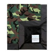 My Blankee Army Camouflage with Minky Solid Back & Flat Satin Border Stroller Blanket, Black, 80cm x 90cm