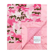 My Blankee Camouflage with Minky Dot Back & Flat Satin Border Stroller Blanket, Hot Pink, 80cm x 90cm