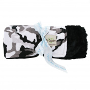 My Blankee Winter Camouflage with Luxe Back Black Throw Blanket, 130cm x 150cm
