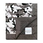 My Blankee Winter Camouflage with Minky Dot Back & Flat Satin Border Stroller Blanket, Charcoal, 80cm x 90cm