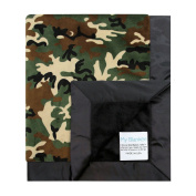 My Blankee Green Camouflage with Minky Solid Back & Flat Satin Border Stroller Blanket, Black, 80cm x 90cm
