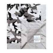 My Blankee Winter Camouflage with Minky Solid Back & Flat Satin Border Stroller Blanket, Silver, 80cm x 90cm