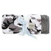 My Blankee Winter Camouflage with Minky Solid Back Throw Blanket, Charcoal, 130cm x 150cm