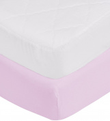 aBaby Toddler Mattress Protector and Sheet Combo, Lavender