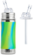 Pura Kiki Stainless Steel 330ml Bottle with Silicone Straw, Aqua Swirl, Plus 1 Extra Silicone Straw