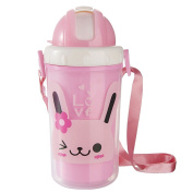 Jili Online 300ml Portable Travel Outdoor PP Cup Water Bottle Milk Juice Water For Bbay Kids With Removable Strap - Pink Rabbit