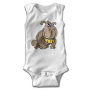 YiYa Infants Boy's & Girl's French Bulldog Short Sleeve Bodysuit Outfits For 0-24 Months White