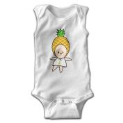 YiYa Infants Boy's & Girl's Pineapple Short Sleeve Romper Bodysuit Outfits For 0-24 Months White
