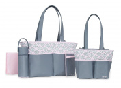 Carter's 5 Piece Nappy Bag Set, Paisley Print, Grey/Pink