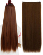 BarRan 3/4 Full Head One Piece 5clips Clip in Hair Extensions Long Straight Hairpiece 6 Colours