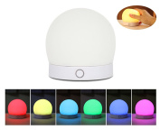 Kids Night Light , MLOVESIE 7 Colours Changing USB Rechargeable Silicone Soft Baby Nursery LED Night Lamp Breathing 3 Modes Dimmiable Bedroom Table Light