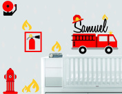 Fire Truck Extinguisher And Fire - Baby Boy - Wall Decal Nursery For Home Bedroom Children (751)