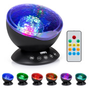 Boomile Remote Control Music Ocean Wave Projector for Baby, 12 LED & 7 Colours Night Lighting Light with Built-in Mini Music Player for Living Room and Bedroom
