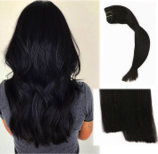 Vario Clip in Hair Extensions 46cm 7pcs 70g Set #1B Natural Black Silky Straight 100% Real Remy Human Hair Extensions