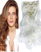 BarRan 50cm Long Curly Wavy Synthetic Clip in Hair Extensions Full Head 7Pcs Hairpiece
