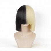 SiYi Sia Style Bob Wig Short Blonde Black 2 Tone Colour Straight Synthetic Full Wigs with Bangs Should Length Cosplay Wigs for Women Girl(Only Wig)