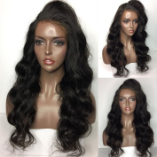 Maycaur Natural Wavy Hair Synthetic Lace Front Wig Body Wave Hair Black Wigs 24-70cm