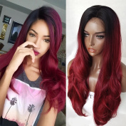 QD-Tizer Long Wavy Hair Ombre Burgundy Glueless Synthetic Lace Front Wig for Beauty Girl 70cm
