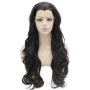 Long Wavy Dark Brown Heat Resistant Synthetic Lace Front Wig Natural